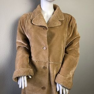 Faux Shearling Suede 3/4 Trench Coat Medium Brown